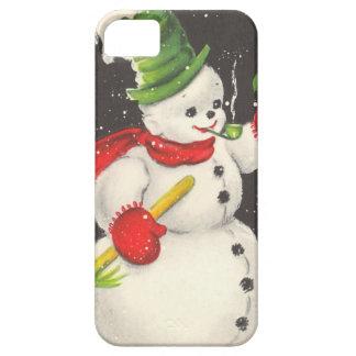 Muñeco de nieve del navidad del vintage iPhone 5 Case-Mate fundas