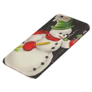 Muñeco de nieve del navidad del vintage funda barely there iPhone 6 plus