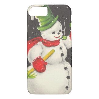 Muñeco de nieve del navidad del vintage funda iPhone 7