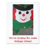 Muñeco de nieve del navidad del vintage invitación 10,8 x 13,9 cm