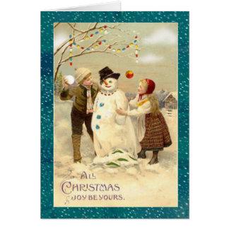 Muñeco de nieve del navidad del vintage tarjeta de felicitación