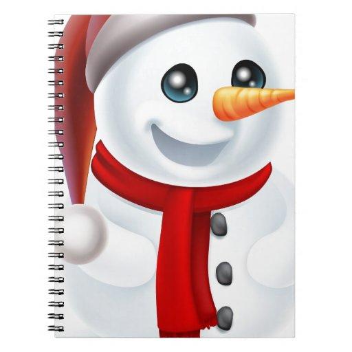 Muñeco de nieve del navidad en el gorra de Santa Libretas Espirales