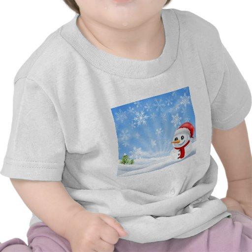Muñeco de nieve del navidad en escena nevosa camisetas
