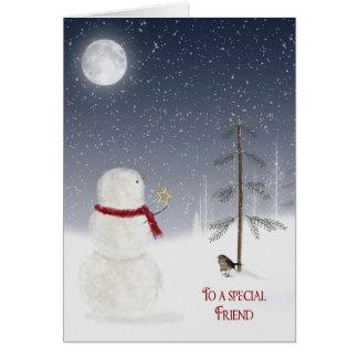 Muñeco de nieve del navidad para el amigo tarjeta de felicitación