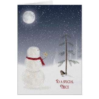 Muñeco de nieve del navidad para la sobrina tarjeta de felicitación