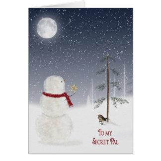 Muñeco de nieve del navidad para PAL secreto Tarjeta De Felicitación