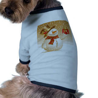 Muñeco de nieve del navidad camisetas de perro