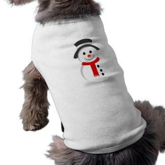 Muñeco de nieve del navidad camiseta de perrito