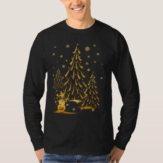 Muñeco de nieve del oro y camisa del árbol de