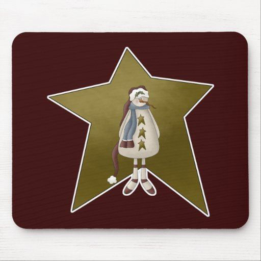 Muñeco de nieve del país con la estrella tapete de raton