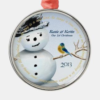 Muñeco de nieve del país de las maravillas del adorno navideño redondo de metal