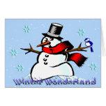 Muñeco de nieve del país de las maravillas del inv felicitación