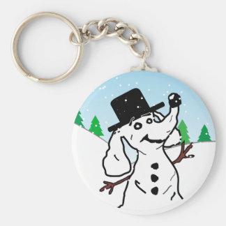 Muñeco de nieve del perro llavero redondo tipo pin