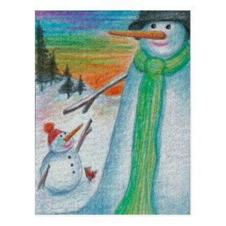 ¡Muñeco de nieve del Poppa y su pequeño hijo deshi Postales
