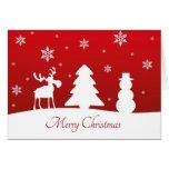 Muñeco de nieve del reno del árbol de navidad - ta tarjeton
