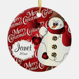 Muñeco de nieve del rojo de las Felices Navidad Adorno Navideño Redondo De Cerámica