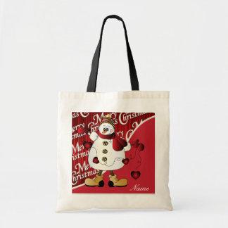 Muñeco de nieve del rojo de las Felices Navidad Bolsa Tela Barata