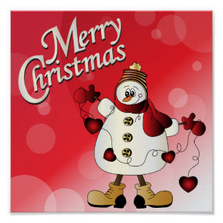 Muñeco de nieve del rojo de las Felices Navidad Impresiones