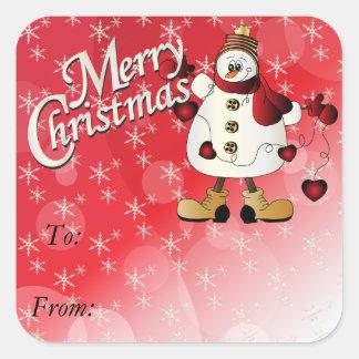 Muñeco de nieve del rojo de las Felices Navidad Calcomanía Cuadrada