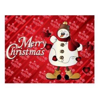 Muñeco de nieve del rojo de las Felices Navidad Tarjetas Postales