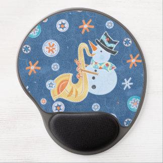 Muñeco de nieve del saxofón que hace música del alfombrillas de ratón con gel