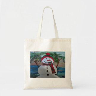 Muñeco de nieve del tote del presupuesto bolsa tela barata