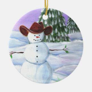 Muñeco de nieve del vaquero adorno navideño redondo de cerámica