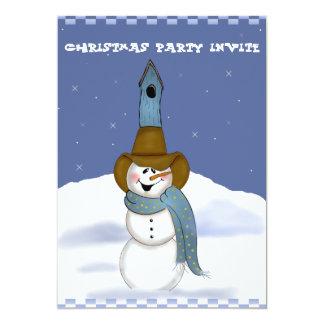 """Muñeco de nieve del vaquero con el Birdhouse Invitación 5"""" X 7"""""""