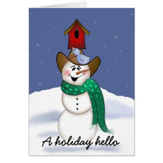 Muñeco de nieve del vaquero con el Birdhouse Tarjeta De Felicitación