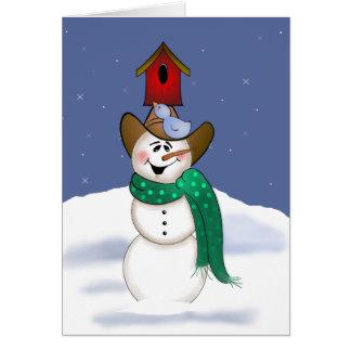 Muñeco de nieve del vaquero con el Birdhouse Tarjeta Pequeña