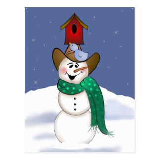 Muñeco de nieve del vaquero con el Birdhouse Tarjeta Postal