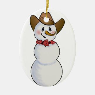 Muñeco de nieve del vaquero con el pañuelo rojo adorno ovalado de cerámica