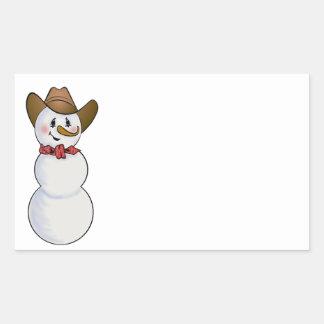 Muñeco de nieve del vaquero con el pañuelo rojo rectangular pegatina