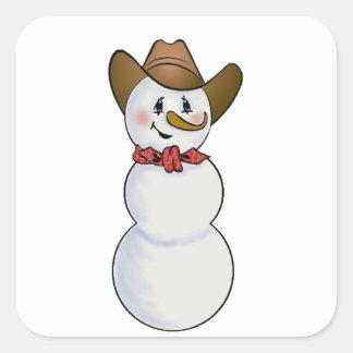 Muñeco de nieve del vaquero con el pañuelo rojo pegatina cuadrada