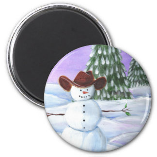 Muñeco de nieve del vaquero imanes para frigoríficos