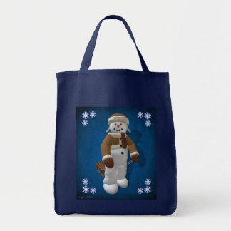 Muñeco de nieve del vintage con el trineo bolsa tela para la compra