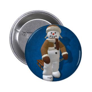Muñeco de nieve del vintage con el trineo pin
