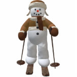 Muñeco de nieve del vintage del esquí adorno fotoescultura