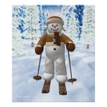 Muñeco de nieve del vintage del esquí poster
