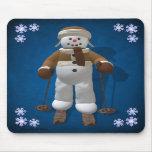 Muñeco de nieve del vintage del esquí tapete de ratones