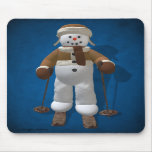 Muñeco de nieve del vintage del esquí tapete de ratón
