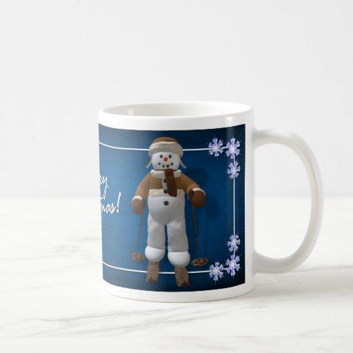 Muñeco de nieve del vintage del esquí tazas de café