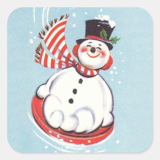 Muñeco de nieve del vintage en disco de la nieve pegatina cuadradas personalizada