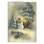 Muñeco de nieve del vintage felicitacion