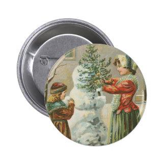 Muñeco de nieve del vintage pin