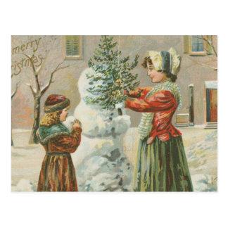 Muñeco de nieve del vintage postales