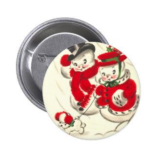 Muñeco de nieve del vintage y botón redondo de pin redondo de 2 pulgadas