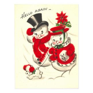 Muñeco de nieve del vintage y postal de Snowwoman