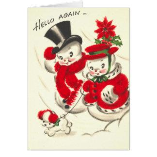 Muñeco de nieve del vintage y tarjeta de Snowwoman