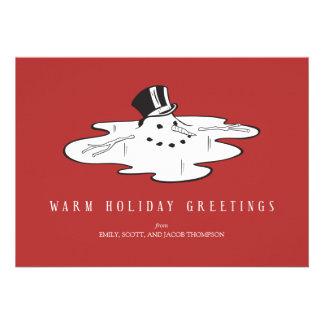 Muñeco de nieve derretido - tarjetas divertidas de comunicado personalizado